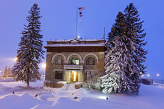 Old architecture of Duluth. During snow storm. Duluth, Minnesota, USA Stock Images