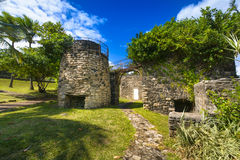 Old architecture at Grande Anse place, Reunion Island. During a sunny day Royalty Free Stock Photo