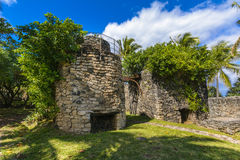 Old architecture at Grande Anse place, Reunion Island. During a sunny day Stock Images