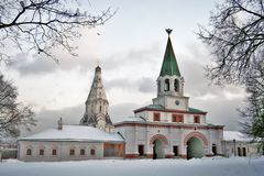 Old architecture of Kolomenskoye park. Ascension church. Stock Photography