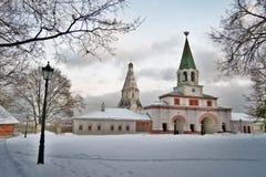Old architecture of Kolomenskoye park stock photos