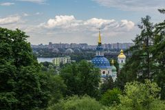 Monastery in the botanical garden of Kiev Ukraine. Old architecture monastery in Kiev Ukraine Stock Images