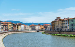 Old architecture and river Arno, Pisa, italy Royalty Free Stock Images