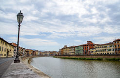 Old architecture and river Arno, Pisa, italy Royalty Free Stock Photo