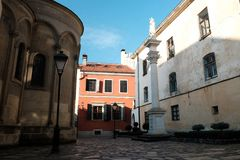 Old architecture small courtyards. Street in the city of Lviv Ukraine 03.15.19. Old architecture small courtyards. Street in the city of Lviv Ukraine, 03.15.19 royalty free stock photography