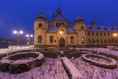Old architecture of Sopot at night. Old architecture of Sopot seen at night during the snowstorm. Sopot, Pomerania, Poland Royalty Free Stock Photography