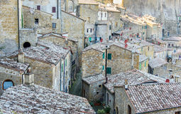 Old architecture in the tuscan village. View of the old town of Sorano, Tuscany, Italy Stock Images