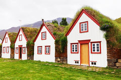 Old architecture typical rural turf houses, Iceland, Laufas Stock Photography