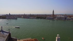 Old architecture in Venice, aerial view of buildings and Grand Canal, tourism. Stock footage stock footage