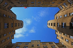 Old architecture in Warsaw. On the blue sky Royalty Free Stock Photos