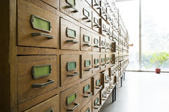 Old archive with drawers Royalty Free Stock Photo