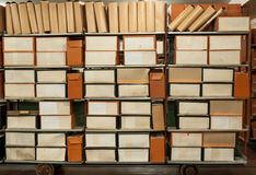 Old archive. Old historical documents and files in town archive royalty free stock image