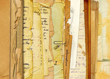 Old archive with letters, photos. On the abstract background Stock Photography
