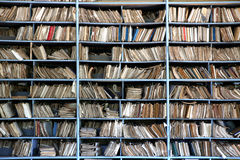 Old archive. Shelves full of files in a messy old-fashioned archive stock photography