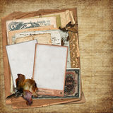 Old archive on vintage background. Vintage background with old letters, photographs, money Stock Photos
