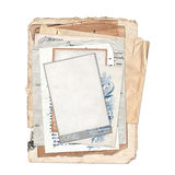 Old archive on the white isolated background. Old archive with letters, photos on the white isolated background Royalty Free Stock Images