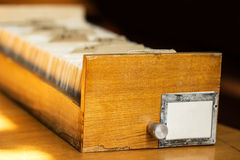 Old archive with wooden drawer Royalty Free Stock Photography