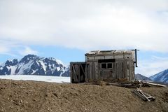 Old Arctic Shack. An old abandoned shack in the Arctic Stock Images