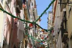 Old area in Alfama in Lisbon, Portugal Stock Images