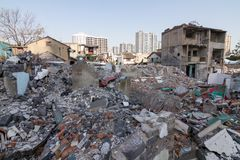 Old area building broken down for new construction. In China Stock Photography