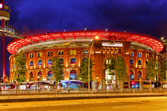 Old Arena building in Barcelona. Night view. Stock Images