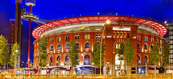 Old Arena building in Barcelona. Night view. Royalty Free Stock Photography