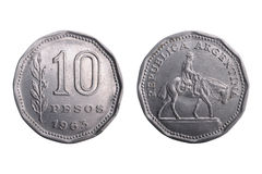 Old argentine coin with gaucho figurine. Stock Images