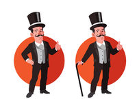 Old Aristocrat Flat Cartoon Stock Image