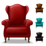 Old armchair set. From front view, in different colors, isolated on white Stock Images