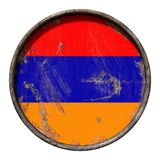Old Armenia flag. 3d rendering of a Armenia flag over a rusty metallic plate. Isolated on white background Royalty Free Stock Photo