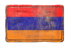 Old Armenia flag. 3d rendering of an Armenia flag over a rusty metallic plate. Isolated on white background Stock Photo