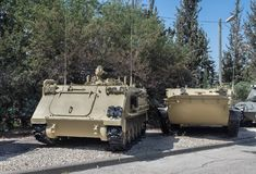 Old armored personnel carriers at Latrun Armored Corps Museum. LATRUN, ISRAEL - MAY 02, 2017: Old armored personnel carriers at Latrun Armored Corps Museum stock image