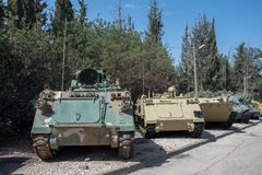 Old armored personnel carriers at Latrun Armored Corps Museum. LATRUN, ISRAEL - MAY 02, 2017: Old armored personnel carriers at Latrun Armored Corps Museum stock photo
