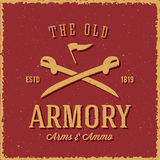 Old Armory Arms and Ammo Abstract Vintage Label. Card, or Logo Template with Shabby Textures, Retro Typography.  Also Good for Posters, Flayers, T-shirt Prints Stock Image