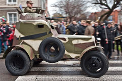 Old armoured car driving. Replica of an old Polish armoured car wz.34 used in the second world war in September 1939 at a parade of a Polish Independence Day Royalty Free Stock Photos
