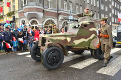 Old armoured car on a parade royalty free stock photo