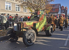 Old armoured car at parade. Replica of an old armoured car wz.1934 during Polish Independence Day in Gdansk, Poland Royalty Free Stock Photography