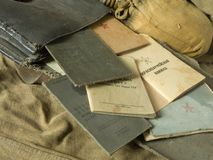 Old army bag. And antiques army documents Stock Images