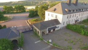 Old army barracks in sundown stock video footage