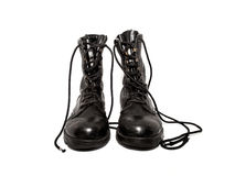 Old army boots. Old black army boots isolated on white background Stock Image