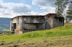 Old army bunker in landscape royalty free stock photos