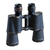Old army field binoculars. Isolated on white stock images