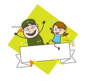 Old Army Man with Little Girl and Message Banner Vector Illustration Royalty Free Stock Photos