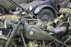 Old army motorcycle closeup Stock Photography