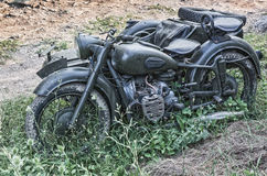 Old army motorcycle with sidecar Stock Photo