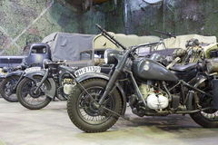 Old army motorcycles and trucks Stock Images