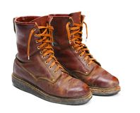 Old army paratroopers combat boots. Royalty Free Stock Image