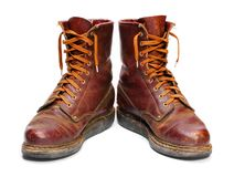 Old army paratroopers combat boots. Royalty Free Stock Photography