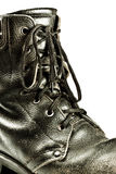 Old army style boot closeup Royalty Free Stock Photos