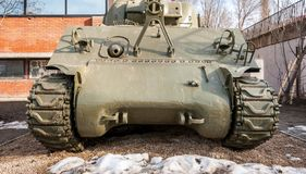 Old army Tank front view used by Serbian military in the Warld war one WWI outdoors in front of the museum as touristic exhibit. Novi Sad, Serbia. February - 01 stock photo